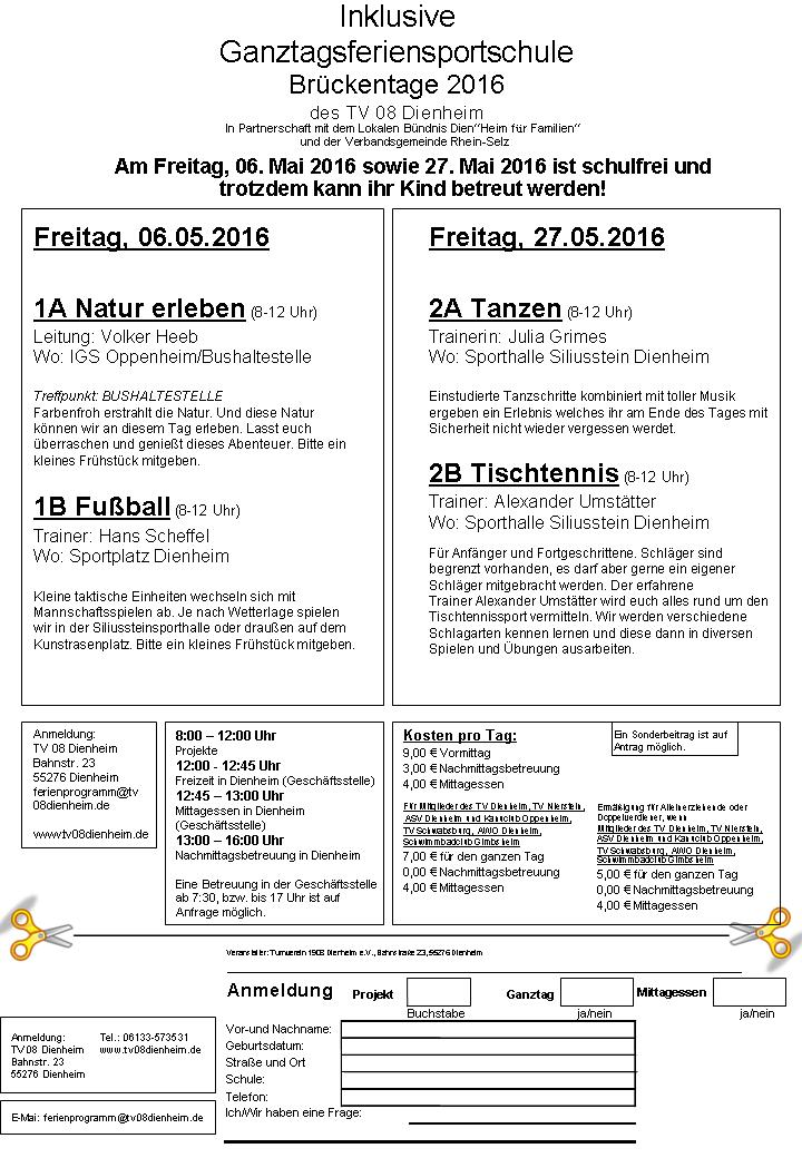 Flyer Brückentag 06.05. & 27.05.2016
